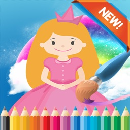 Princess Cartoon Paint and Coloring Book Learning Skill - Fun Games Free For Kids