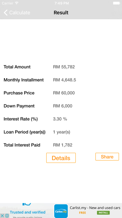 Malaysia Car Loan Calculator screenshot two