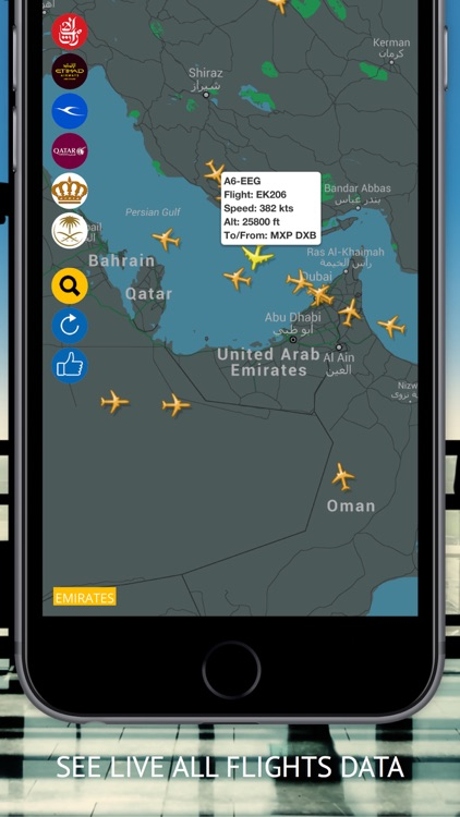 Arab Radar : Emirates, Air Arabia, Qatar, Etihad, Saudi, Royal Jordanian, Kuwait  Airways Live Flight Radar & Status