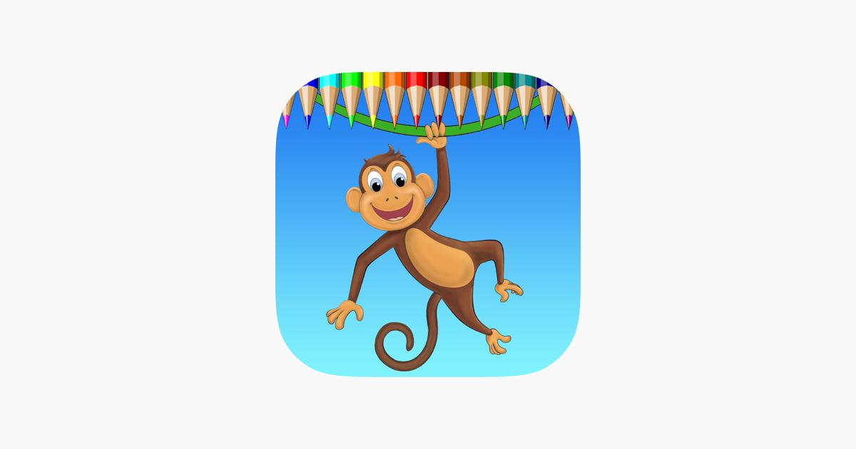 Maymun Boyama Kitabı Renk öğrenin Ve Bir Maymun Goril Ve Daha