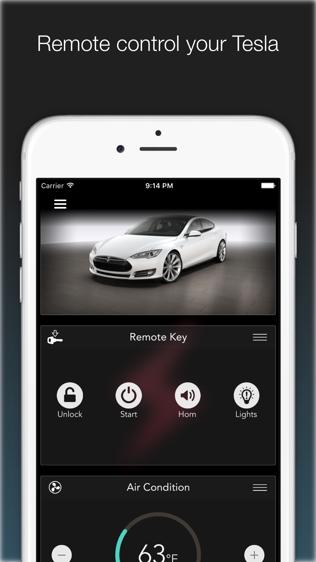 KeyMote - Remote for Tesla Model S & Model X Screenshot