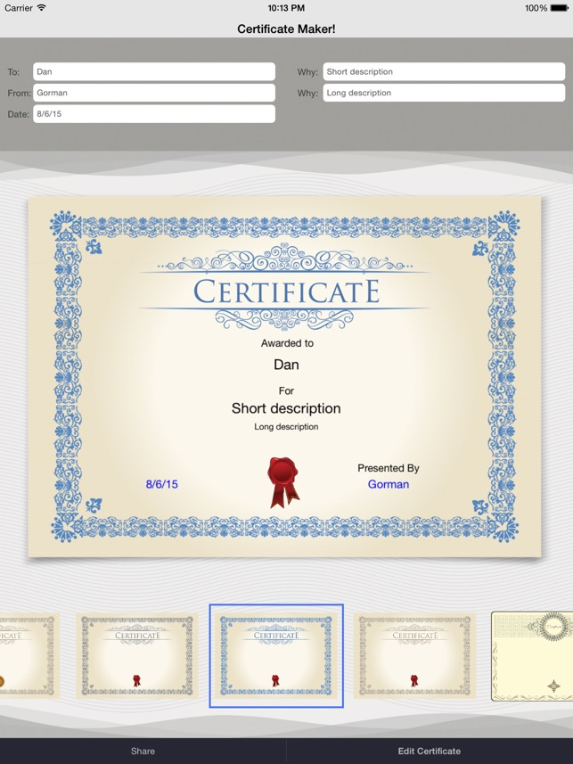 Certificate maker on the app store certificate maker on the app store yelopaper Choice Image
