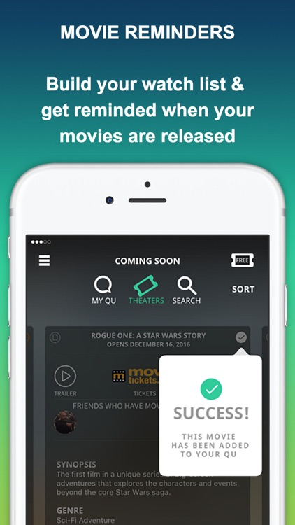 MOVIEQU: Save Upcoming Movies & Movie Theaters Tix screenshot-1