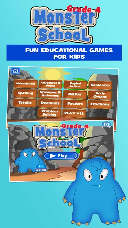 Monsters 4th Grade Learning Games School Edition By Family Play Pte