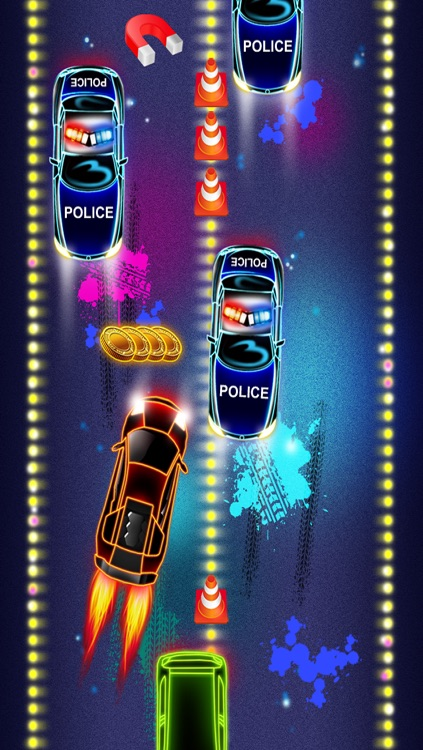 Nitro Neon Car Racing Police Pursuit Game