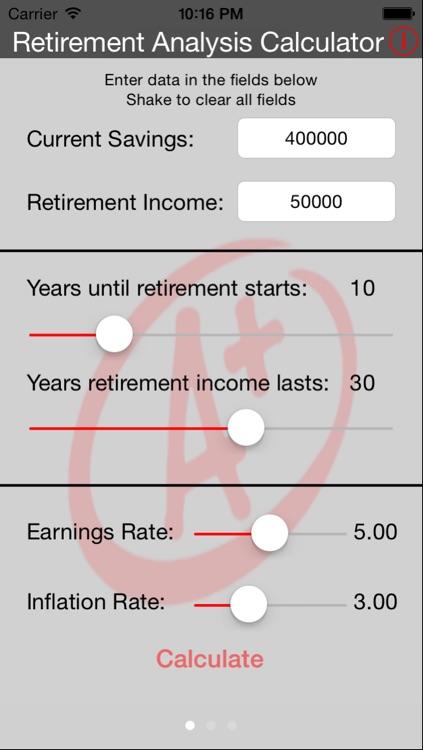 Retirement Analysis Calculator