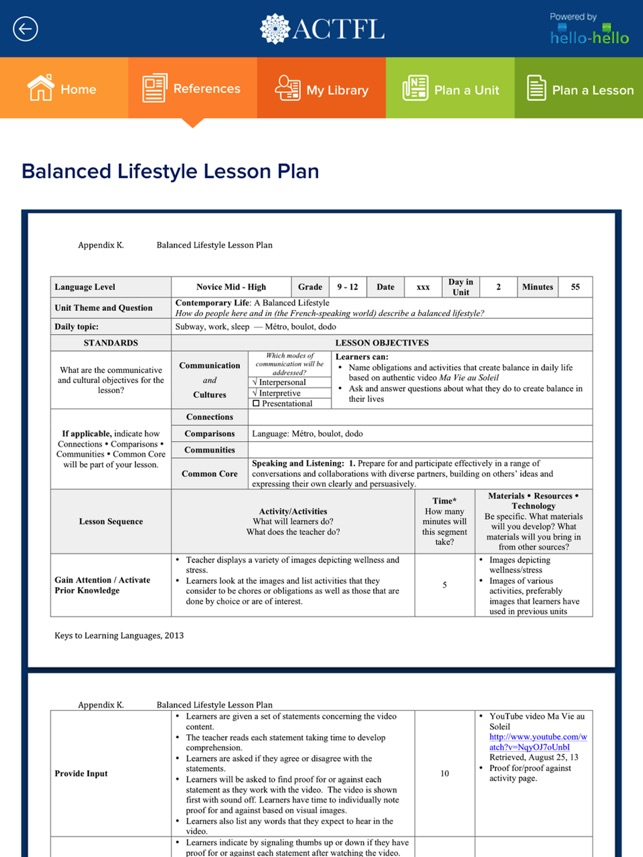 ACTFL Unit And Lesson Planner On The App Store - Unit planner template