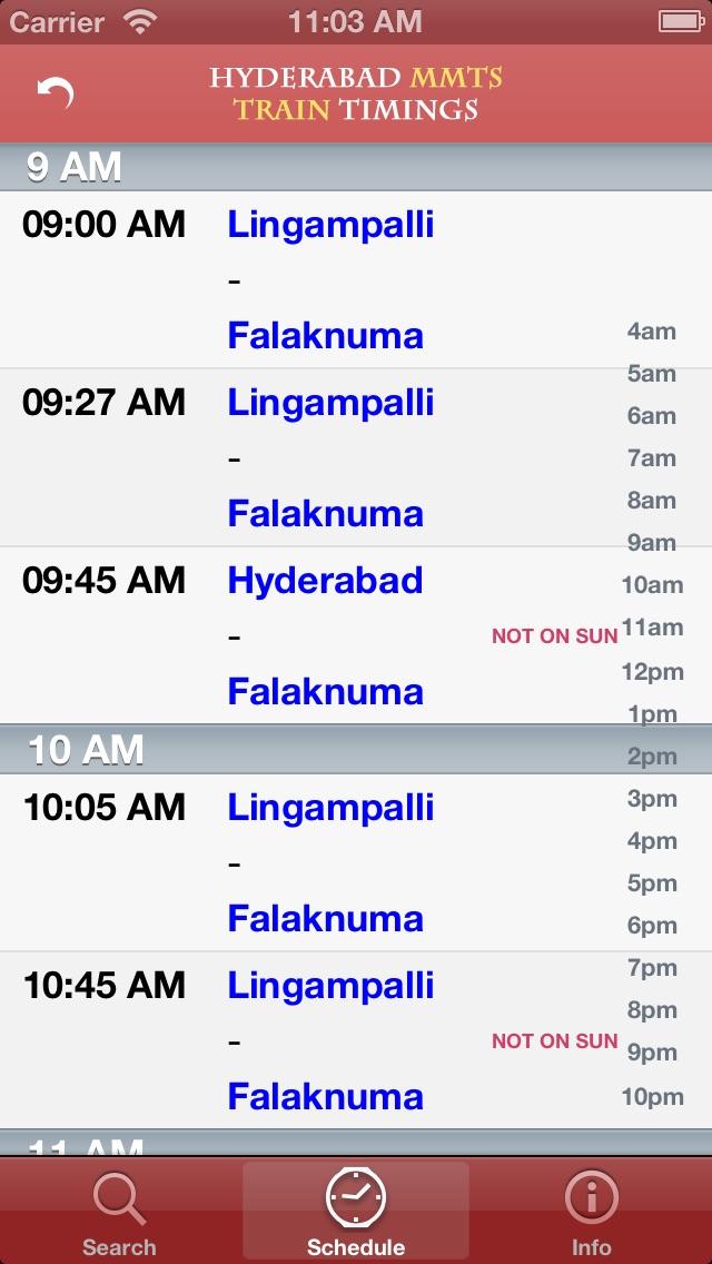 Hyderabad MMTS Suburban Train Timings Screenshot