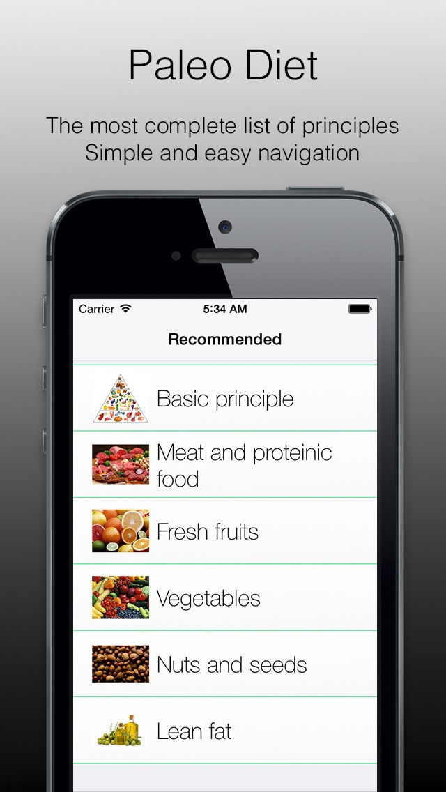 Paleo Diet - paleo diet basics, application which will introduce you to the basics of paleo nutrition. Sport diet or sport food.のおすすめ画像2