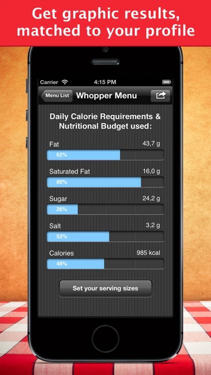 Fast Food Calories Counter & Restaurant Nutrition Menu Finder, Weight Calculator & MealS Tracking Journal screenshot-3