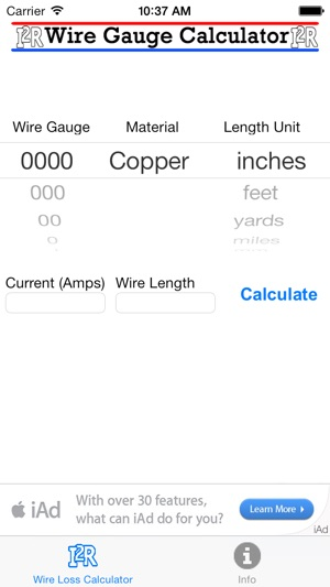 Wire gauge calculator lite on the app store iphone screenshots keyboard keysfo Images
