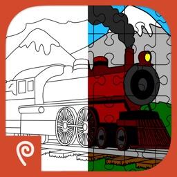 Color It Puzzle It: Trains
