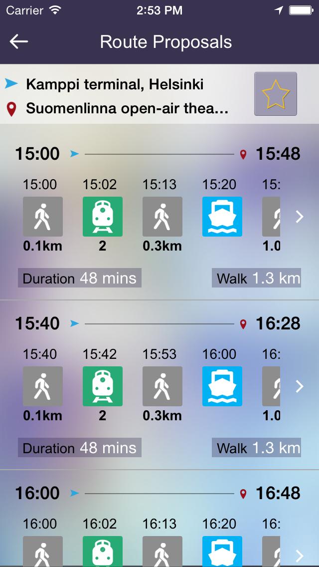 OnTimely-Helsinki, reittiopas, aikataulu ja pysäkit, HSL, kartta reitti, reitin päästöt, reittihaku, journey planner screenshot two