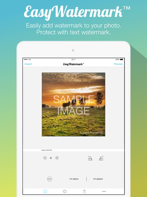 Easy Watermark for Photo Free - Insert text watermark on photos iPad Edition