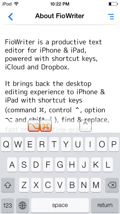 FioWriter Lite - Productive text editor for iPhone & iPad with command keys and cloud sync screenshot-3