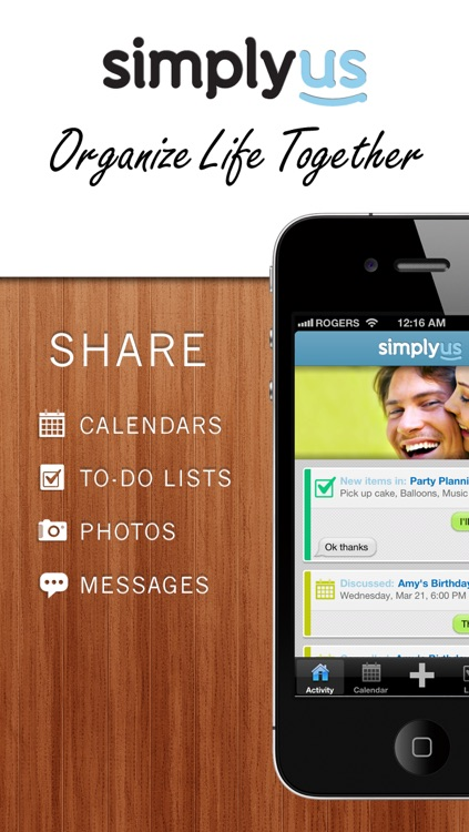 SimplyUs - Shared Calendar, ToDo Task List & Organizer for Couples