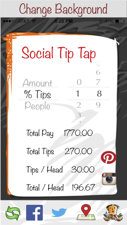 Social Tip Tap - Engage in a social dining experience with free tip calculator, share experience with Instagram, Pinterest, Twitter and Facebook, call cab, find nearby bars and restaurants