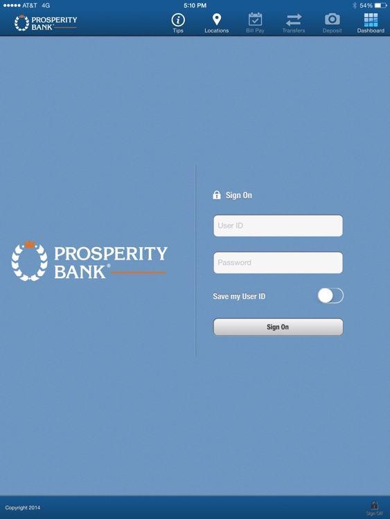 Prosperity Bank iPad Version