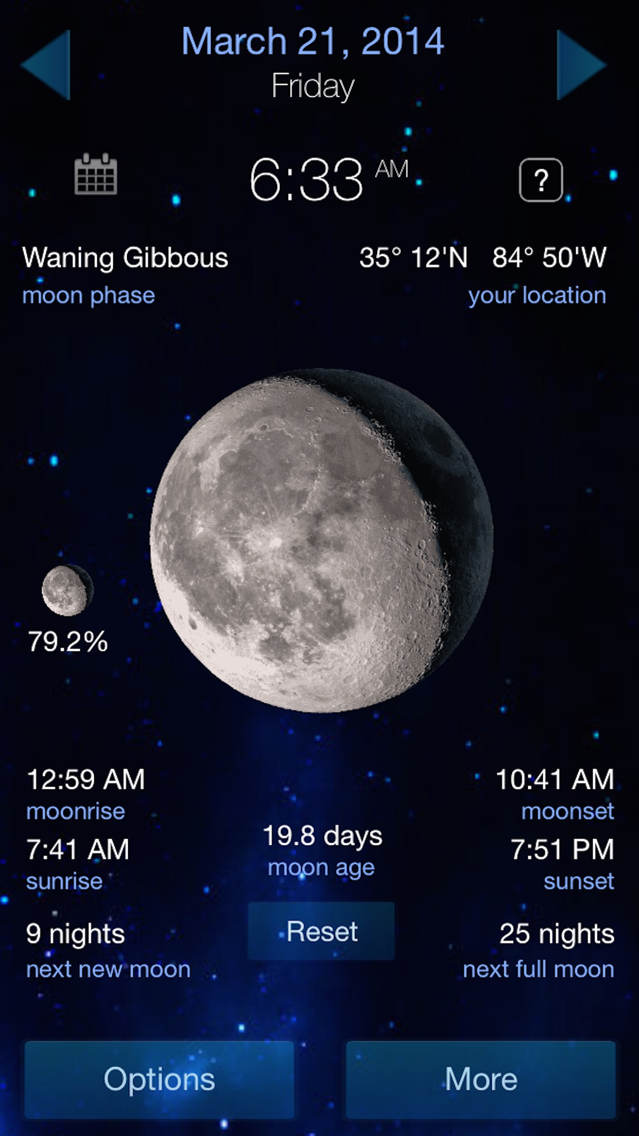 Lunar Phase calendar for the moon Screenshot