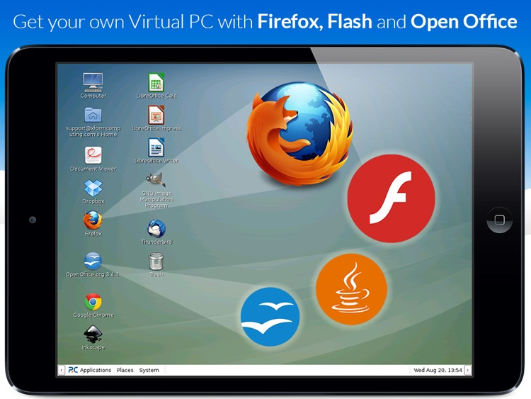 AlwaysOnPC - Firefox with Flash Player and Office on a Virtual PC for iPad