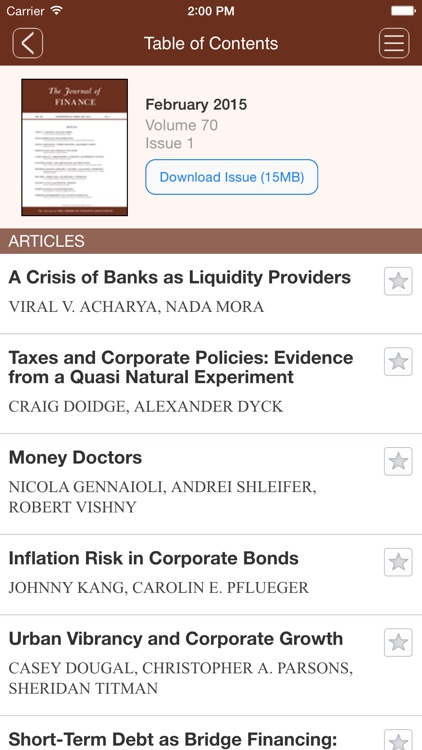The Journal of Finance