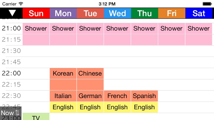 Week Table 15min - Weekly Schedule Timetable / scheduler / planner