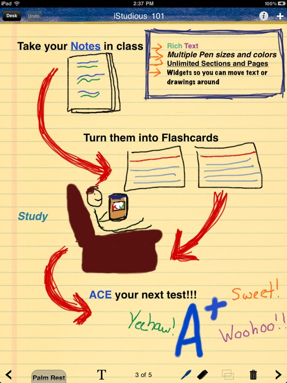iStudious Lite - Note Taking + Flashcards w/ Handwriting and