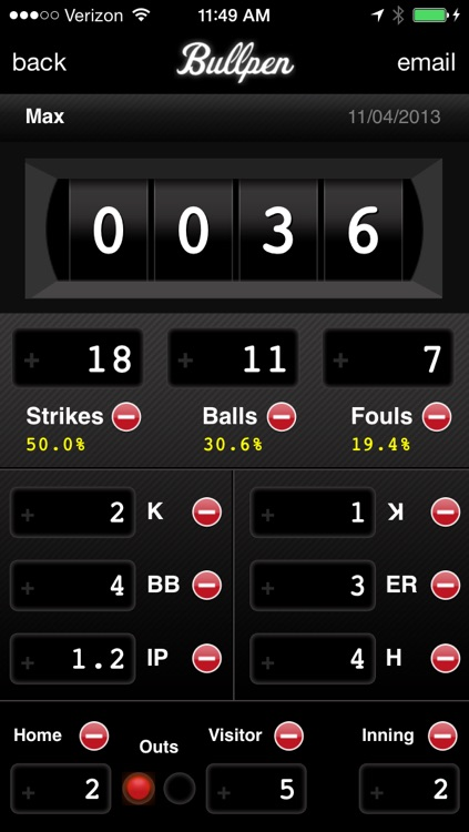 Bullpen - Baseball Pitch Counter App, Softball Pitch Count App, and Scorekeeping App