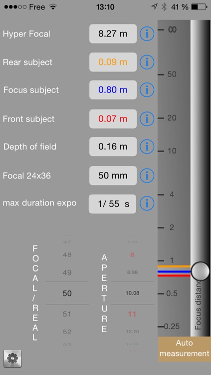 IDoFcalculate - calculator depth of field with auto focus distance measurement