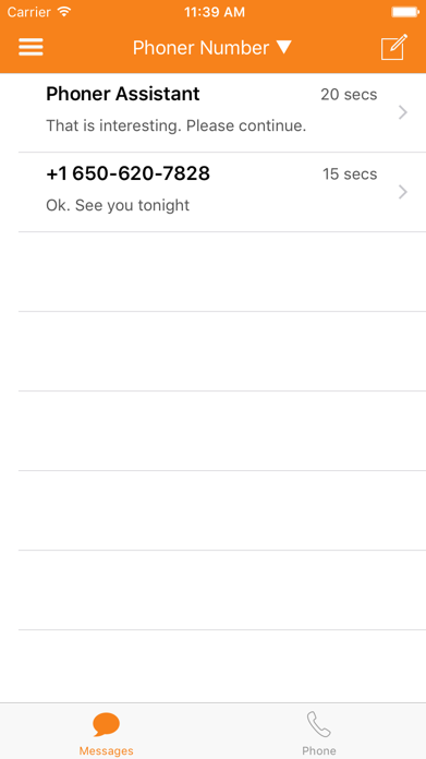 Phoner 2nd Phone Number Text Screenshot