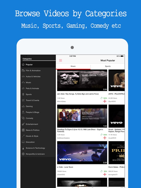 Free Music Player - for YouTube Music Videos & Playlist