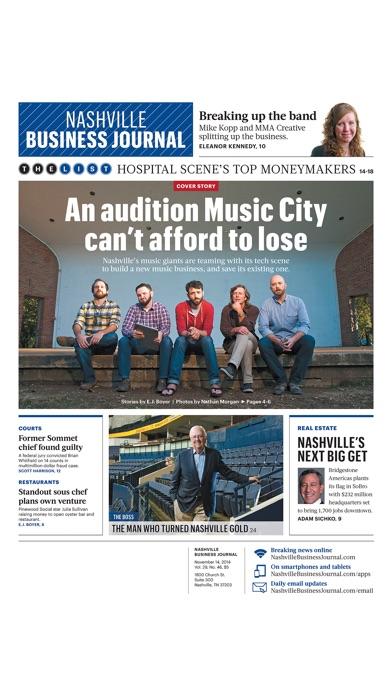 Nashville Business Journal review screenshots