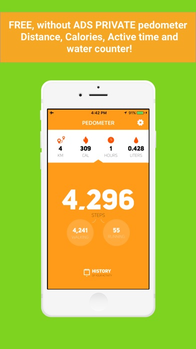 Screenshot #1 pour Private Pedometer - calorie,water,activity tracker