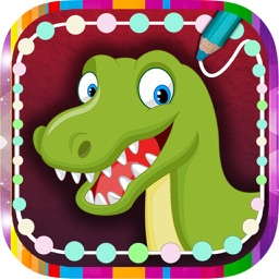 Connect dots and paint dinosaurs - dinos coloring book for kids