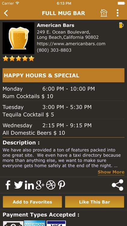American Bars - Find a Bar, Cocktails & Recipes, Beers, Trivia, Reviews, Events, Social Network screenshot-2