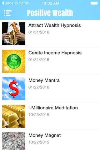 Screenshot of Positive Thought Hypnosis and Meditation for Wealth and Prosperity