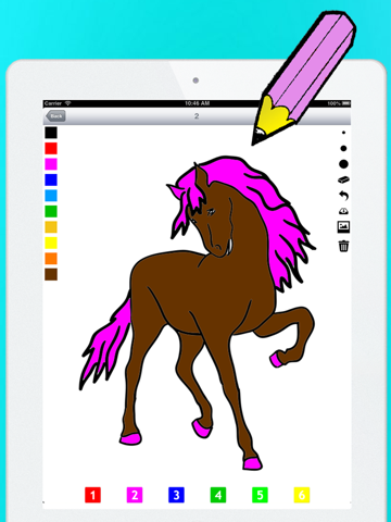 Actief! Kleurboek van Paarden Voor Kinderen: Leren Om Te Schilderen en Kleur van het Paard iPad app afbeelding 1
