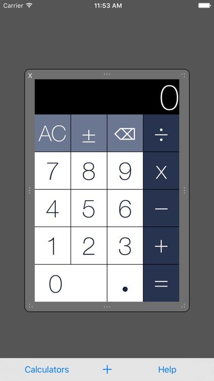 Multiple Resizable Calculators
