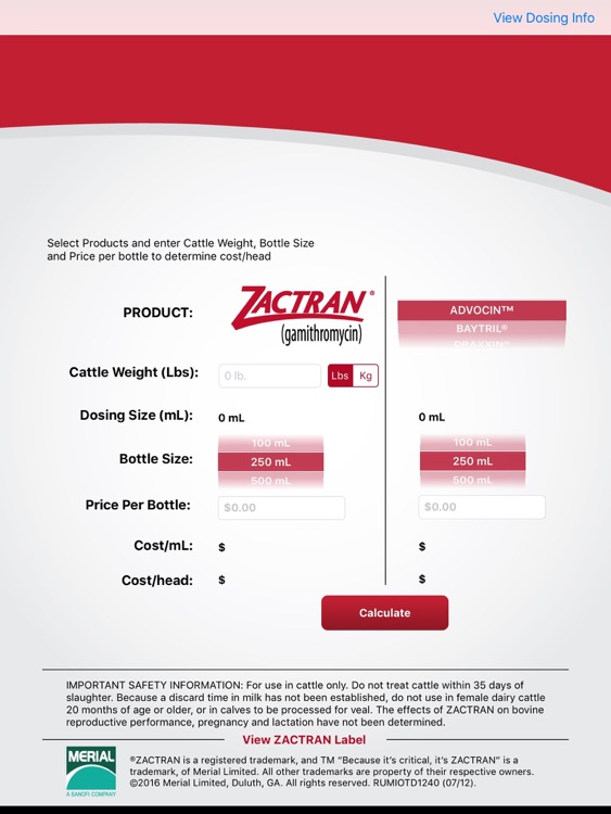 Zactran Cost Calculator for iPad