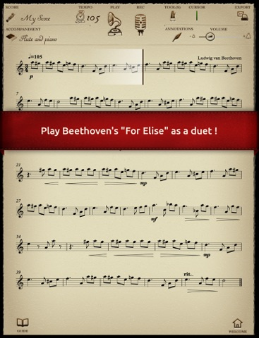 """Play Beethoven - """"For Elise"""" - Duet with piano accompaniment screenshot two"""