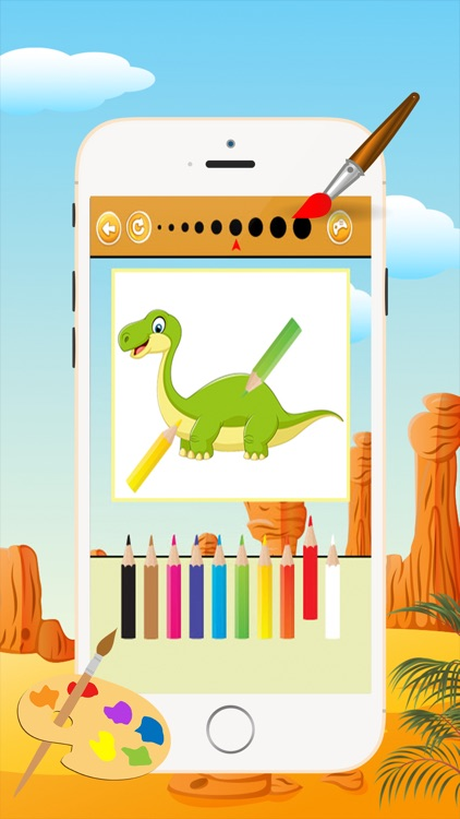 Dinosaur Coloring Book - Drawing and Painting Colorful for kids games free screenshot-3