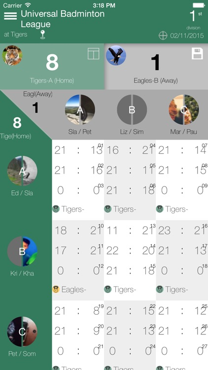 Badminton Scorecard