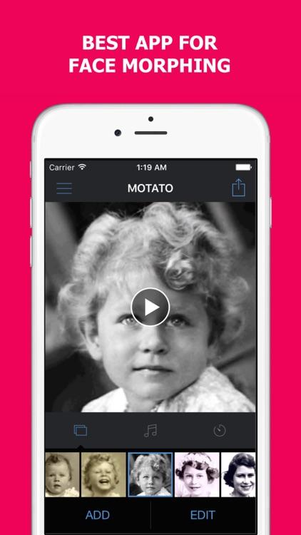 Motato: Morph Face Pictures for Slideshow Maker screenshot-0