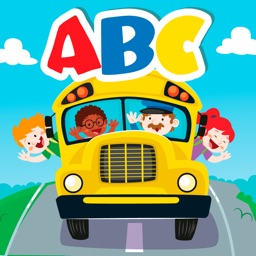 School Bus Alphabet abc tracing and coloring games for kids