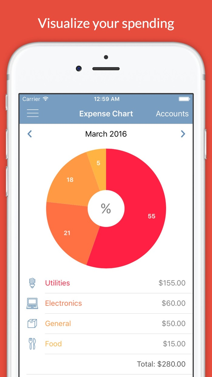 Expense Keep - Monthly Spending Tracker and Budget Planner with Accounts and Recurring Payments Screenshot