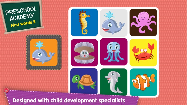 First Words 2 -  English : Preschool Academy educational matching game for Pre-k and kindergarten children