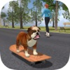 Bulldog on Skateboard 3D