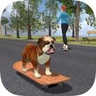 Bulldog on Skateboard 3D icon