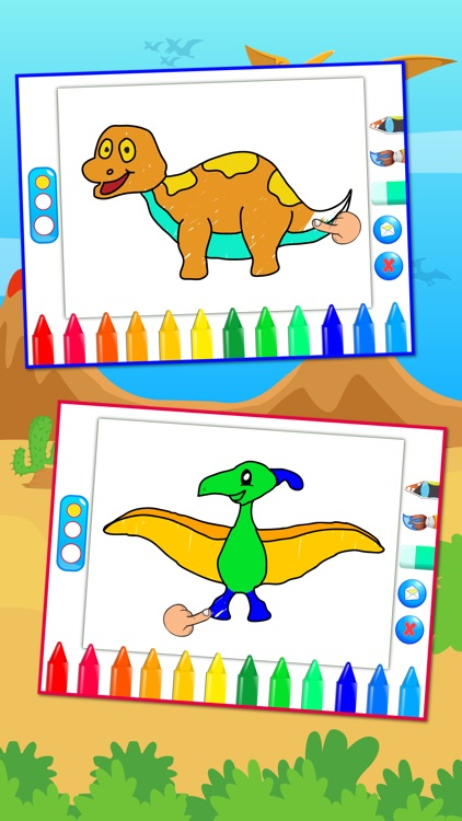Dinosaurs Connect the Dots and Coloring Book Free screenshot-3