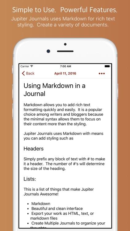 Jupiter Journals - Keep a Personal Journal